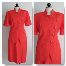Skirt Suit Albert Nipon Orange Mandarin Collar Jacket Top and Secretary Size 8