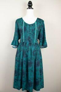 Lindy Bop 'Francy May' Green Floral Vintage Cottagecore Tea Day Dress BNWT.