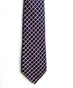 Men's New Silk Neck Tie, Classic Wide, Dark Blue Pink cross design by VanHeusen