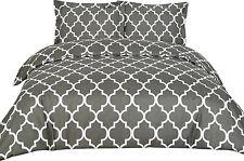 Queen Bedding Printed Duvet Cover Set Brushed Microfiber Comfortable Grey Soft