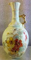 "Antique Art Deco Single Handle Pitcher Vase Vintage 8"" Tall Floral Design"