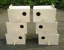 "3 Pairs Of Budgie Nest Nesting Breeding Boxes  9"" x 6"" x 6"""