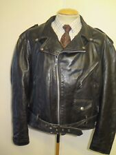 "VINTAGE Vera Schott NYC Perfecto PELLE LEATHER JACKET 48"" EURO 58-Nero"