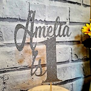 Custom Birthday Glitter Cake Topper Personalised Any Name Any Age 1st 2nd, 40th