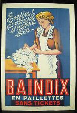 Baindix en paillette sans tocket ! Affiche de publicité Rullière Avignon c 1950