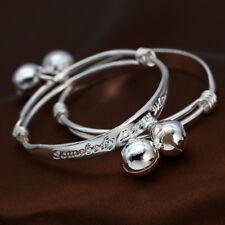 Bells Decoration Cuff Bangle Jewelry 1Pair/set Exquisite Baby Gift 925 Silver