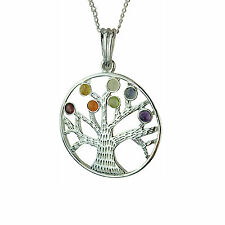 Tree of Life Spiritual Chakra Silver Plated Pendant with Real Gemstones
