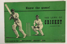 1953 The Laws Of Cricket Instruction Booklet Martlybone Cricket Club