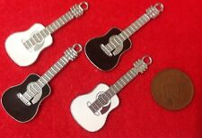 Set of 4 FUNKY CHIC BLACK & WHITE GUITAR Charms Silver Tone Enamel Charms - (V1)