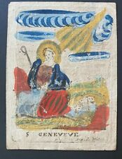 Engraving antique 18th? cent HOLY CARD Hand paint on paper St Geneveve art sign