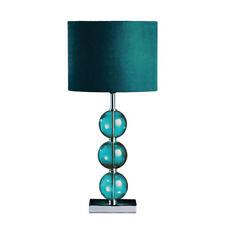 Mistro Table Desk Lamp Chrome Base Teal Suede Effect Shade Bedside Light