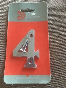 DALE HARDWARE POLISHED CHROME NUMBER 4 DOOR PLAQUE SIGN NEW IN PACK