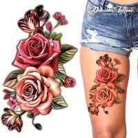 TEMPORARY TATTOO - PINK ROSES, 3D, FLOWERS, WATERPROOF, BODY ART, WOMENS, KIDS