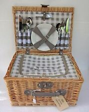 TRADITIONAL 4 PERSON LARGE WICKER PICNIC BASKET HAMPER SET COOLER COMPARTMENT