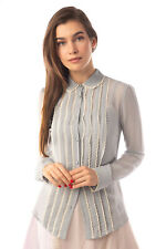 RRP€415 RED VALENTINO 3in1 Silk Shirt Blouse Size 40 / S Camisole Pintucked Lace