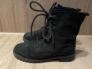 Boots/Stiefeletten mit Schnürung, H&M, Gr. 37, schwarz, geprägtes Leder