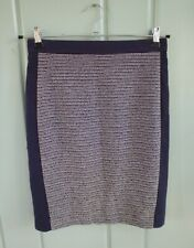 Ann Taylor Womens Pencil Skirt 2 XS Navy Blue White Tweed Straight Stretch Lined