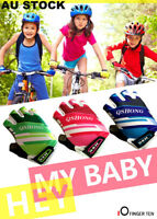 Kids Cycling Padded Gloves Boys Girls Sport Mitts Bike Bicycle Skate Half Finger