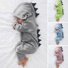 Newborn Baby Boys Girl Dinosaur Hooded Romper Bodysuit Jumpsuit Clothes Outfits
