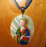 Carlo Crivelli Pendant Saint Catherine of Alexandria Hand painted SHELL signed