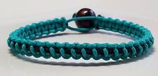 PTSD & Ovarian Cancer Awareness Lite Teal with black line Microcord Bracelet