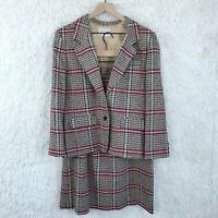 Pendleton Womens 14P 16P Beige Red Plaid Skirt Suit Virgin Wool USA Made VTG 90s
