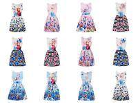Girl Summer Dress Anna Elsa Dress Butterfly Print Sleeveless Purim Dress Girl