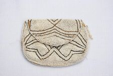 Vintage Milk Glass Bead  Purse small finger clutch bag - made in Belgium 1940's