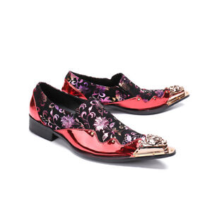 Men's Leather Floral Dress Formal shoes Pointed Metal Toe Party Wedding Slip On