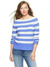 NWT GAP women's Stripe boatneck pullover moore blue XS