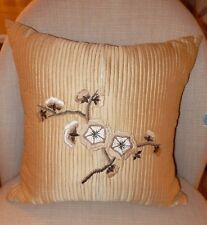 "BEAUTIFUL 100% SILK EMBROIDERED FLORAL DESIGN GOLD SQUARE CUSHION ""EXCELLENT"""