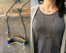 Anthropologie Blue Lapis Lazuli Curved Brass Arc Black Gold Brass Chain Necklace