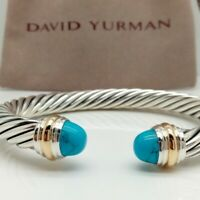 David Yurman Sterling Silver & Gold 7mm Cable Cabochon Turquoise Cuff Bracelet