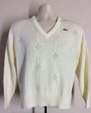 Vtg 80s Izod Lacoste V-Neck Sweater White M Alligator Acrylic