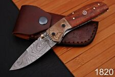 Forged Damascus Steel Folding Knife Engraved Copper Bolster RoseWood Handle-1820