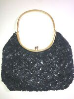 VINTAGE 50'S BLACK SEQUIN & BEADED GOLD EMBELLISHED WRISTLET CLUTCH PURSE BAG