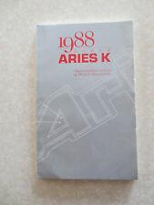 Original 1988 Dodge Aries K owner's manual