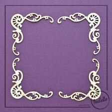 Swirls Chipboard Shapes Card Making Scrapbooking Corner Ornaments 4 Pack
