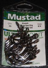 25 Mustad 11048NPBN-80 Size 8/0 Ultra Point Big Gun Open Eye Siwash Hooks
