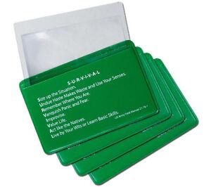 Fresnel Lens 4 Pack Credit Card Pocket Size Magnifier Firestarter with Sleeve