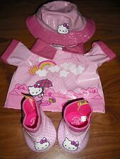 BUILD A BEAR HELLO KITTY RAIN MAC BOOTS & RAIN HAT OUTFIT EXCELLENT CONDITION