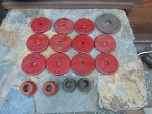 11 YORK  Aristocrat Weight Plates 1 1/4 LB. , Paramount 2 1/2 LB. & 4 Collars