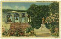Postcard Mission San Juan CA Campanario Father Juniper Serra Statue Linen 1940's