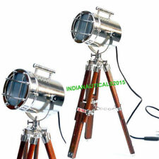 Nautical Silver Spot Light Table Lamp Brown Tripod Stand Home Decor