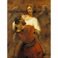 Rembrandt Jacob Wrestling With The Angel Large Canvas Art Print