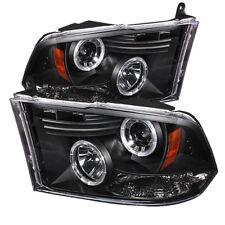 Dodge 2009-2016 Ram 1500 2500 3500 Black Dual Halo LED Projector Headlights