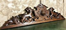 Solid lion scroll leaf oak carving pediment Antique french architectural salvage