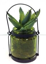 "Succulent in Green Tint Glass Vase~Metal Accent~Faux Moss~7 1/2""T~PVC/Artificial"