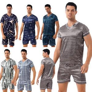 Casual Men's Satin Pajama Set Ice Silk Sleepwear Loungewear Nightwear Homewear