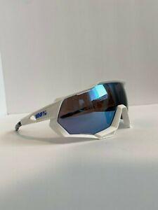 100 % Sunglasses Speedtrap Matte White Hiper Blue Multiplayer Mirror Lens